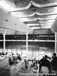 Interior view of Phoenix Trotting Park in 1965